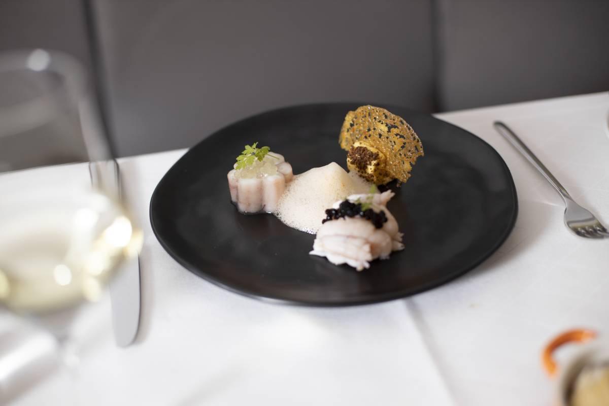 Oktopus mit Hummer - Gericht im Restaurant Valentin Lindau