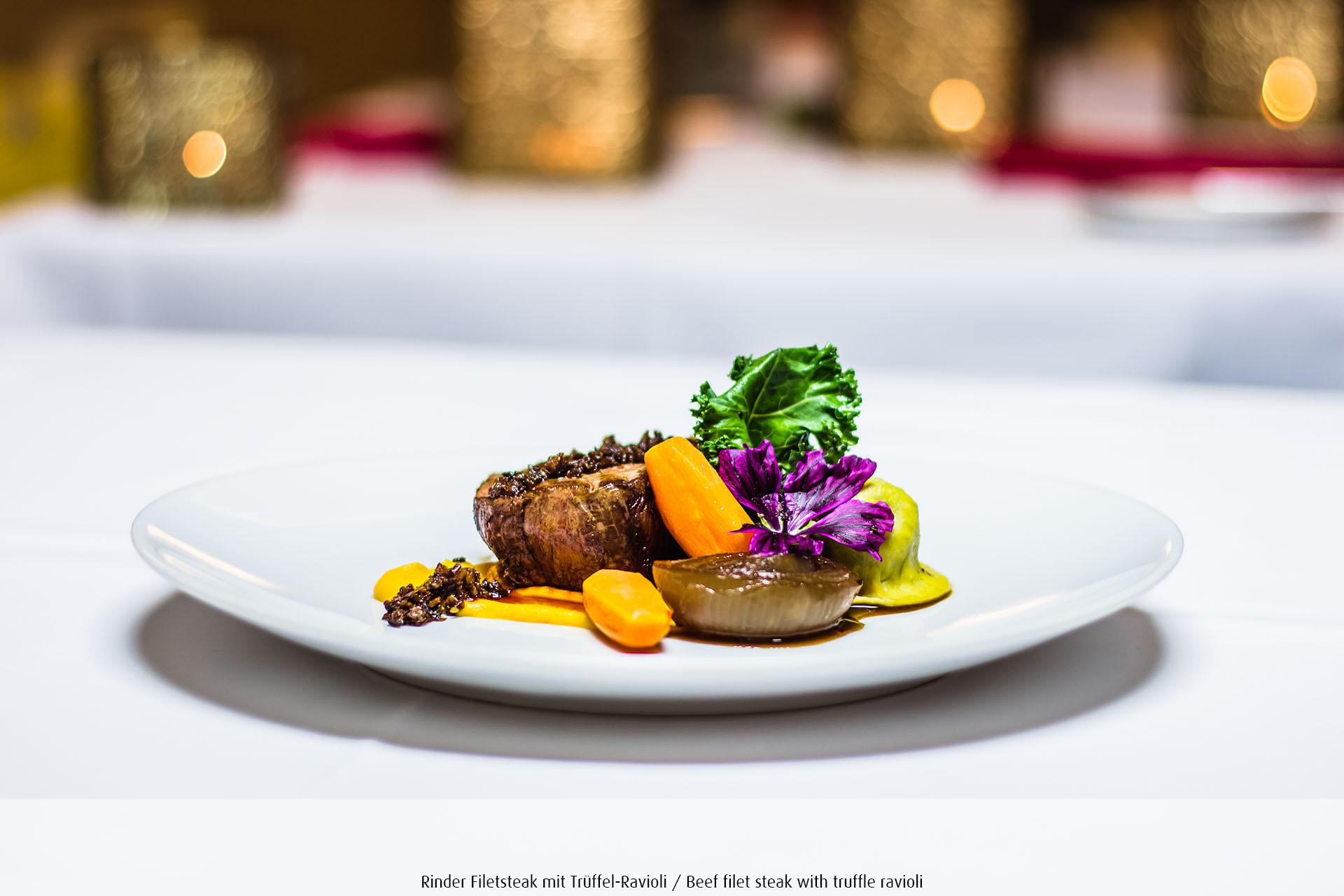 Rinder-Filetsteak mit Trüffel Ravioli